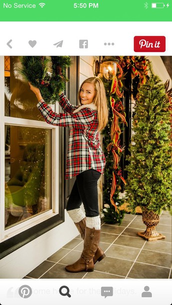 shirt plaid t-shirt leggings boots winter outfits