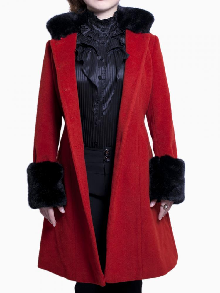 Red Longline Coat With Detachable Cloak | Choies