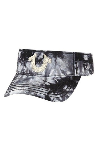 hat true religion tie dye black grey white black and white visor