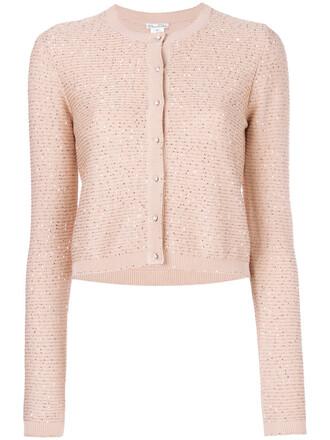 cardigan cropped women cotton silk purple pink sweater