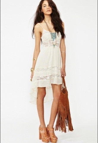 dress high low dress midriff dress white ivory dress