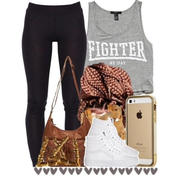 fighter t-shirt leggings bag polyvore shirt polyvore black leggings muscle tee
