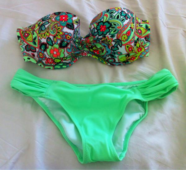 Swimwear Green Summer Flowers Neon Colorful Green