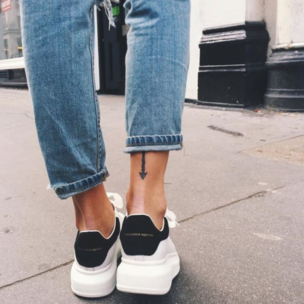 sneakers, blue jeans, tattoo - Wheretoget