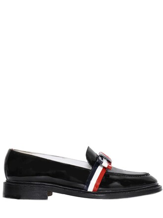 bow loafers leather black shoes