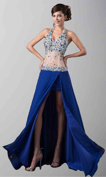halter dress sexy dress sexy prom dresses sexy party dress rhinestones fake two pieces blue dress blue prom dresses V-neck dress