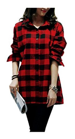 Arjosa womens classic black white check red plaid flannel for White and black flannel shirt womens