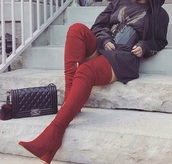 shoes,gold,thigh high boots,red
