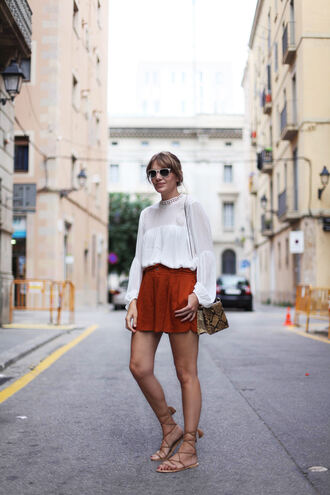 my daily style blogger blouse shorts shoes bag