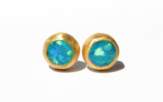 Opal Gold Studs  24k Solid Gold Studs  Post Earrings  by Ringsland