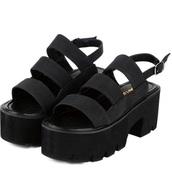 shoes,girly,girly wishlist,black,creepers,platform shoes,platform sandals