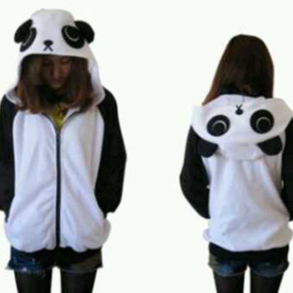 Free Shipping Cute Panda Sweatshirt Zip UP Hoodies Jacket ...