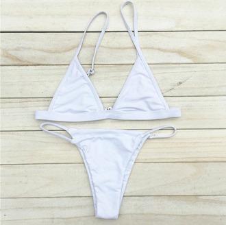 swimwear girl girly girly wishlist white bikini bikini top bikini bottoms triangle triangle bikini