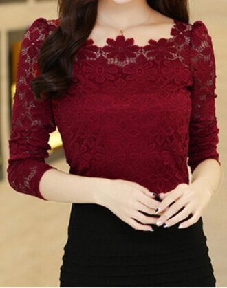 top flowers fashion style burgundy fashionable scoop neck lace crochet flowers long sleeve women's t-shirt fall outfits long sleeves girly rosegal-dec