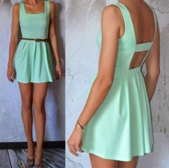 dress green dress pretty dress leather belt