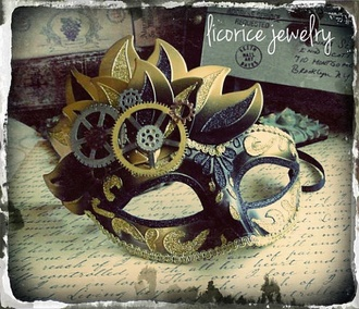 mask jewels gold masquerade black masquerade mask cogs vintage gold and black steampunk