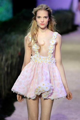 daisy dress overalls pink pink dress pink overalls pink dress overall pink dress overalls runway flounce flouncy daisies