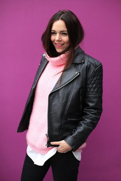 irene closet blogger pink sweater turtleneck leather jacket perfecto