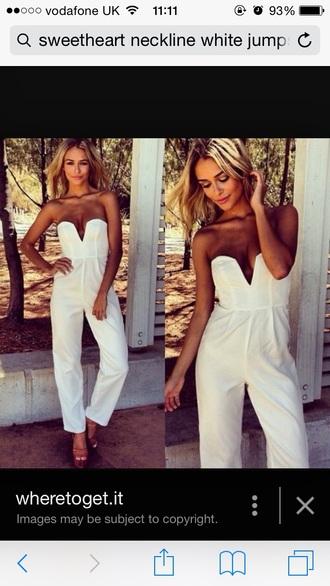 jumpsuit white jumpsuit white sweetheart neckline
