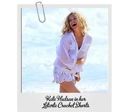 LeTarte White Crochet Shorts seen on Kate Hudson  | Shop New and Vintage |  Celebrity Style