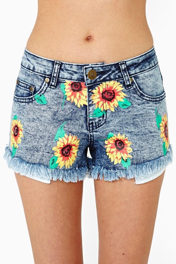 Sunflower cutoff shorts