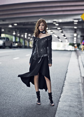 tsangtastic,blogger,jacket,skirt,shoes,biker jacket,leather jacket,black skirt,asymmetrical,black boots,all black everything