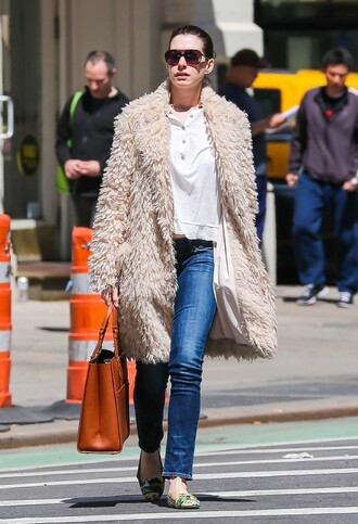 coat anne hathaway denim