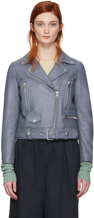 jacket leather blue