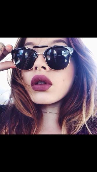 sunglasses nose jewelry septum piercing jewels make-up lipstick mac cosmetics fall outfits lips lip sephora black cat eye face makeup