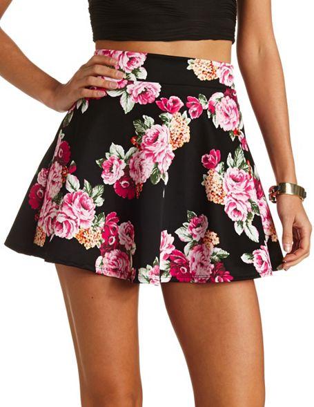 Waisted Floral Skater Skirt: Charlotte Russe
