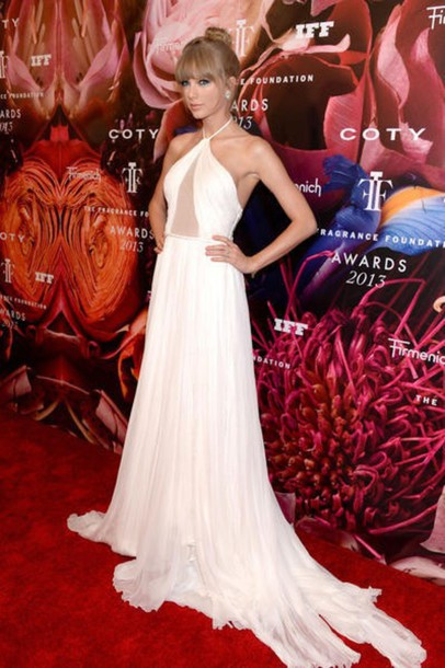 dress taylor swift prom dress red carpet dress white dress long dress celebrities in white