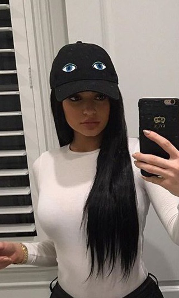 Hat Black Hat With Eye Eye Patch Hat Kylie Jenner