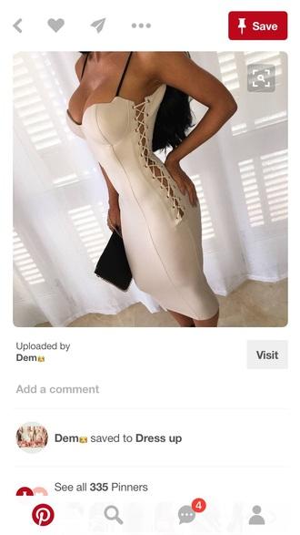 dress tan bodycon dress lace up spaghetti straps dress