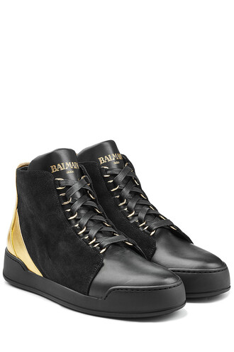 sneakers. metallic high sneakers leather suede black shoes