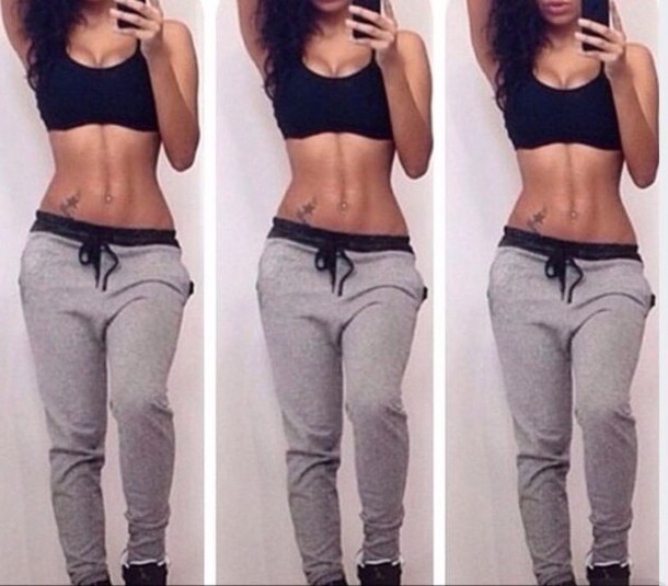Pants: joggers, sweatpants, crop tops, black crop top, tank top ...