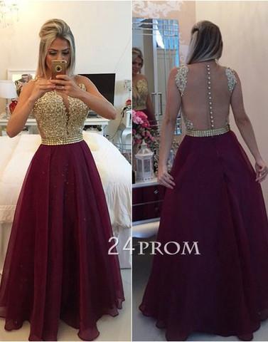 A Line Round Neck Chiffon Lace Long Burgundy Prom Dress