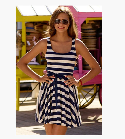 dress simple cute dress summer dress stripes striped dress casual dress