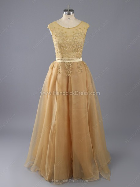 dress a-line scoop neck chiffon tulle skirt beading floor-length prom dress