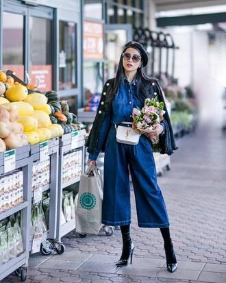 jumpsuit tumblr blue jeans denim denim jumpsuit blue jumpsuit cropped jumpsuit boots shoes jacket beret sunglasses bag belt bag hat