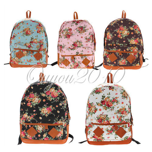 Women Girl Vintage Cute Flower Floral Bag Schoolbag Bookbag Backpack 5 Colors