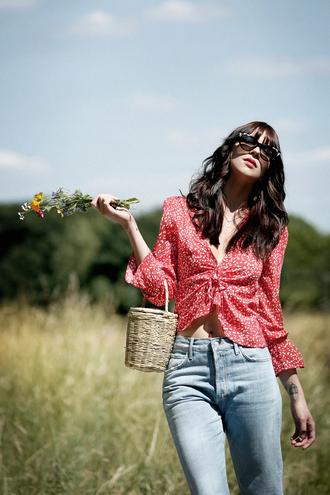 top tumblr v neck red top denim jeans blue jeans bag basket bag sunglasses