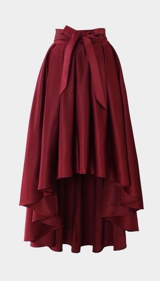 skirt wine red waterfall skirt bow