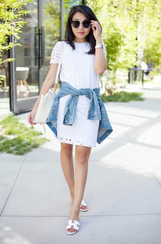 blogger dress jacket shoes bag mini dress lace dress eyelet detail eyelet dress sunglasses denim jacket blue jacket white bag bracelets hermes hermes shoes slide shoes summer dress summer outfits