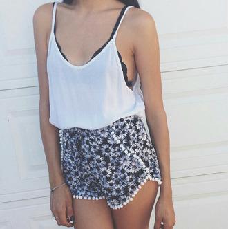 underwear floral shorts white blouse
