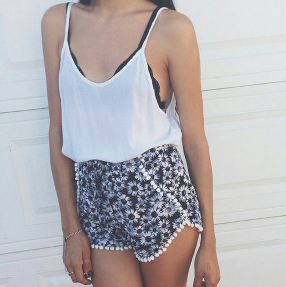 white blouse floral shorts