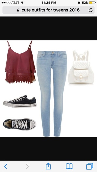 blouse jeans shirt tank top burgundy top skinny jeans