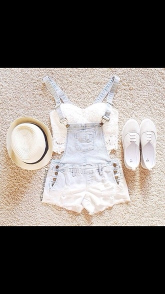 shorts overalls light blue with white hat crop tops shoes top