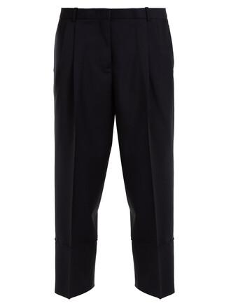 pleated high wool navy pants