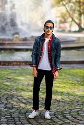 the metro man,blogger,jacket,jeans,cap,denim jacket,lumberjack,sneakers,flannel,hipster menswear,menswear