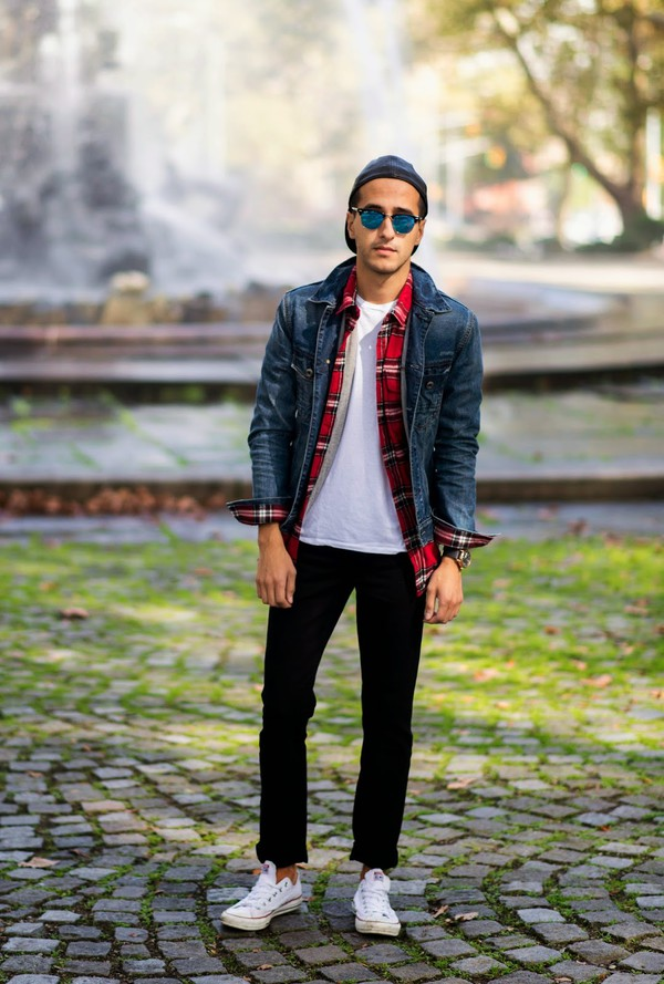 the metro man blogger jacket jeans cap denim jacket lumberjack sneakers flannel hipster menswear menswear
